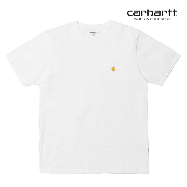 [칼하트WIP] CARHARTT WIP - S/S Chase T-Shirt (White / Gold) 체이스 자수 로고 반팔티