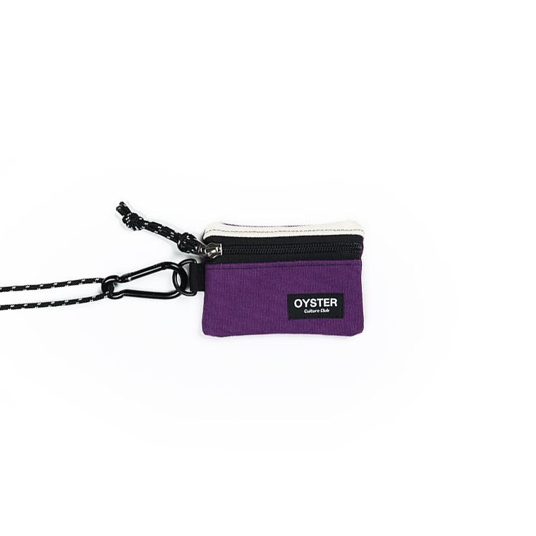 [오이스터컬쳐클럽]OCC 목걸이 동전지갑 & 카라비너 아이보리 퍼플 캔버스 마이크로 파우치