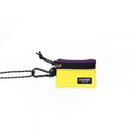 [오이스터컬쳐클럽]OCC 목걸이 동전지갑 & 카라비너 퍼플 옐로우 캔버스 마이크로 파우치