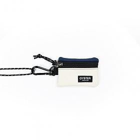 [오이스터컬쳐클럽]OCC 목걸이 동전지갑 & 카라비너 네이비 아이보리 캔버스 마이크로 파우치