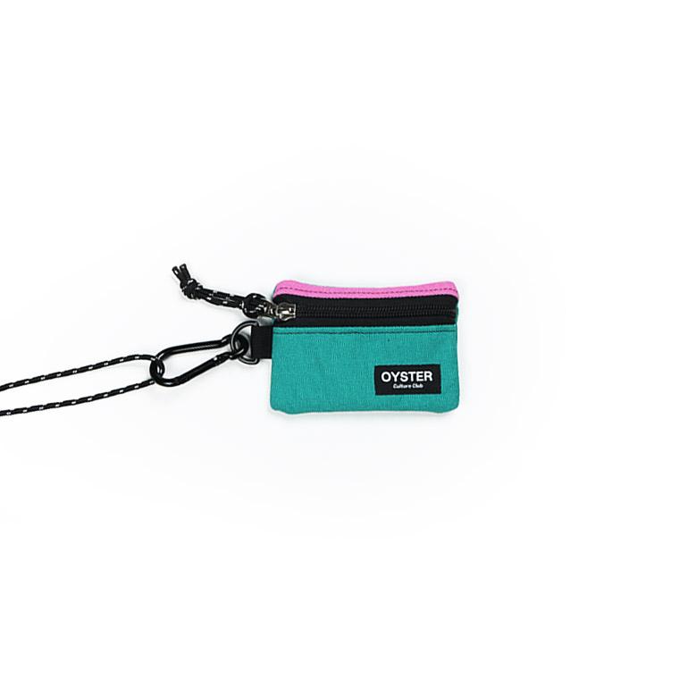 [오이스터컬쳐클럽]OCC 목걸이 동전지갑 & 카라비너 핑크 틸 캔버스 마이크로 파우치