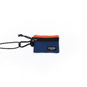 [오이스터컬쳐클럽]OCC 목걸이 동전지갑 & 카라비너 오렌지 네이비 캔버스 마이크로 파우치