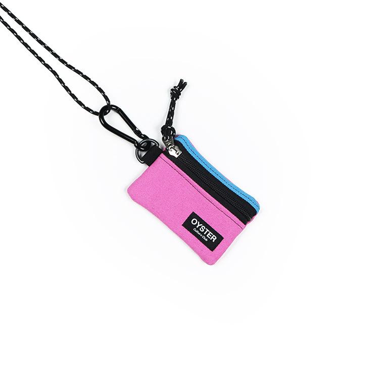 [오이스터컬쳐클럽]OCC 목걸이 동전지갑 & 카라비너 스카이 핑크 캔버스 마이크로 파우치