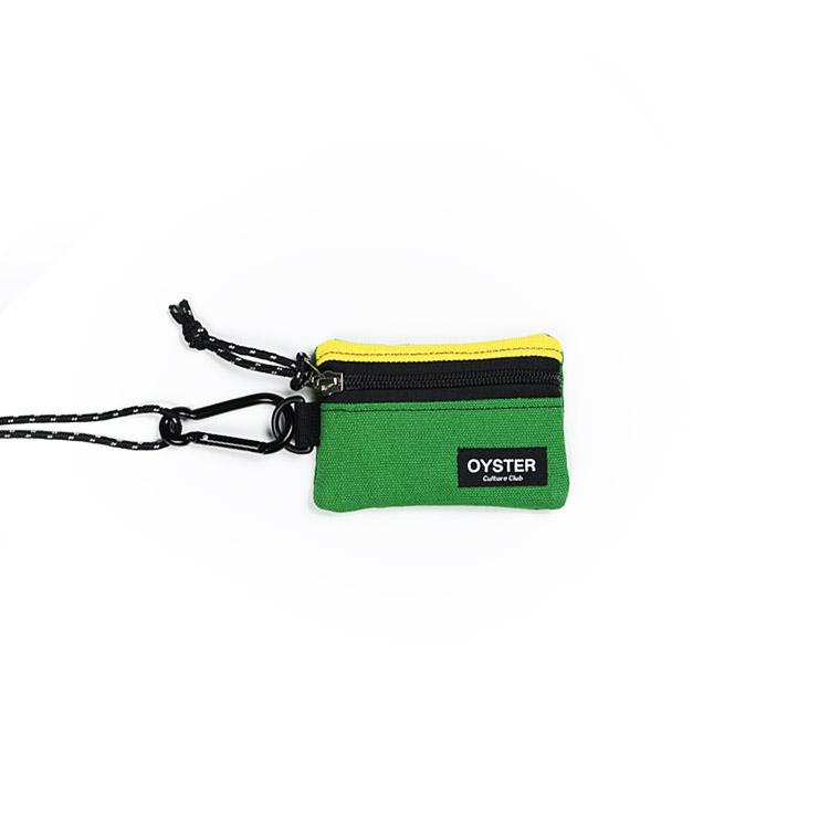 [오이스터컬쳐클럽]OCC 목걸이 동전지갑 & 카라비너 옐로우 그린 캔버스 마이크로 파우치