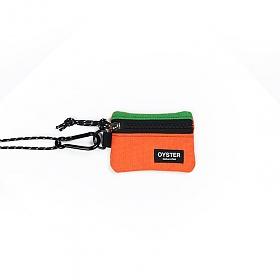 [오이스터컬쳐클럽]OCC 목걸이 동전지갑 & 카라비너 그린 오렌지 캔버스 마이크로 파우치