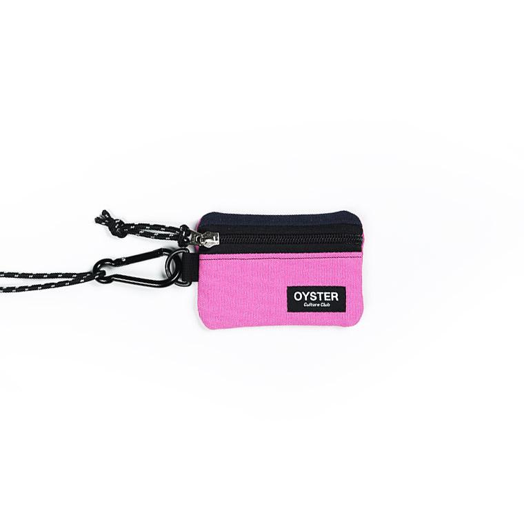 [오이스터컬쳐클럽]OCC 목걸이 동전지갑 & 카라비너 네이비 핑크 캔버스 마이크로 파우치