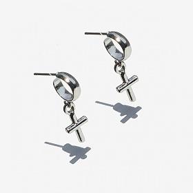 [RUSHOFF] Mini Cross Earring /  미니 크로스 귀걸이 (써지컬스틸침)