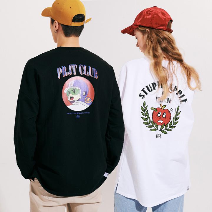 [프로젝트624](1+1) 스튜핏애플 볼보이히어로 옆트임 롱슬리브 티셔츠 긴팔티
