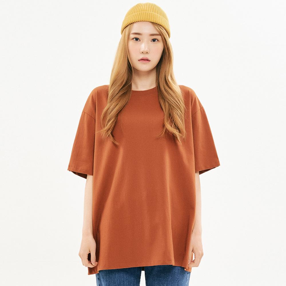 [프로젝트624]우먼 베이직 루즈핏 무지 티셔츠 브라운