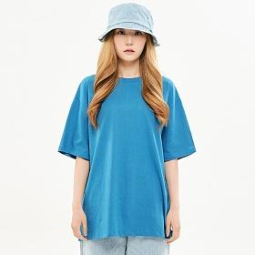 [프로젝트624]우먼 베이직 루즈핏 무지 티셔츠 트렌치블루
