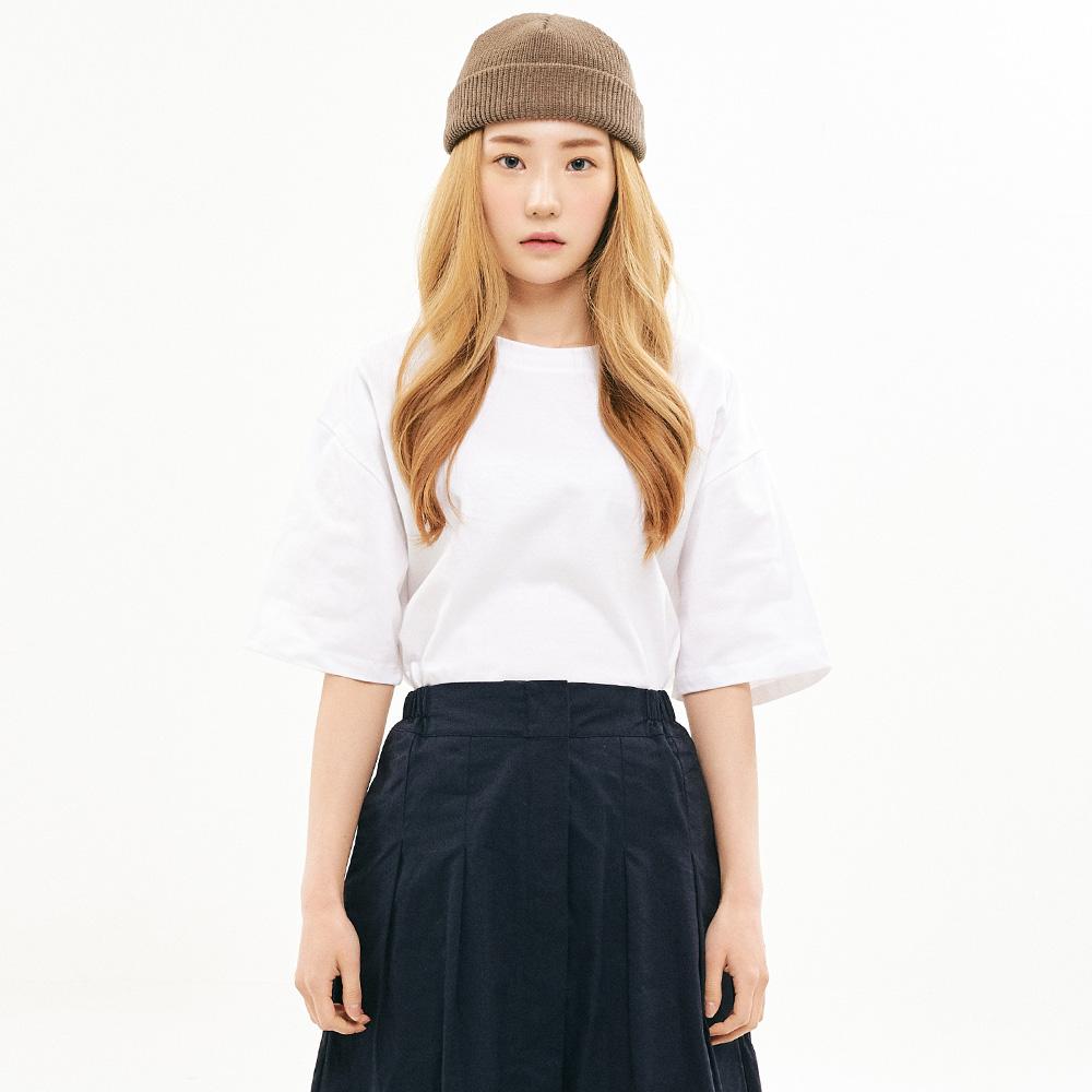 [프로젝트624] 우먼 베이직 루즈핏 무지 티셔츠 화이트