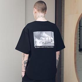 매스노운 SL 로고 스카치 버닝 티셔츠 반팔티T-SHIRTS MSNTS001-BK