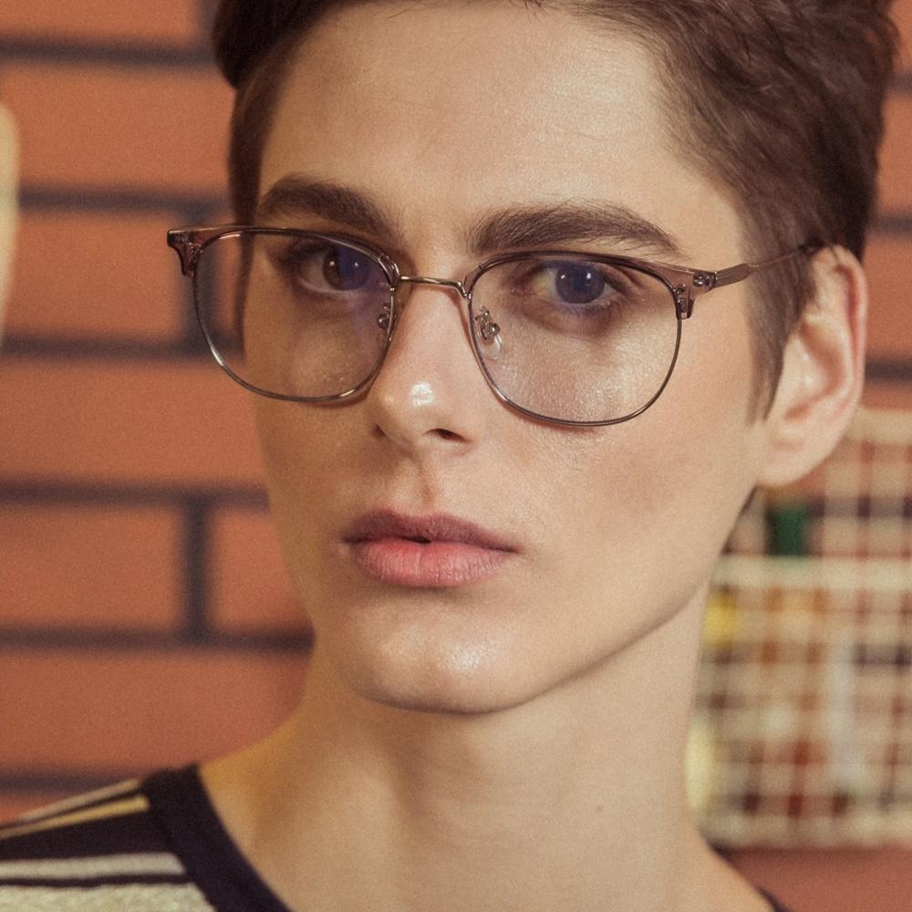 블루엘리펀트 - CLARK greycrystal 남자 여자 하금테 사각 연예인 청광 렌즈 블루라이트 차단 시력 눈 보호 보안경 투명 은테 안경테