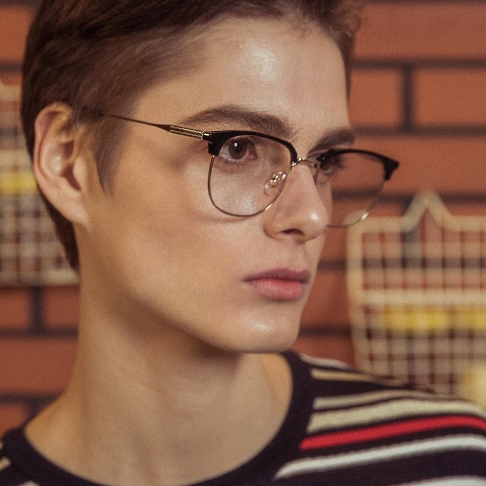 블루엘리펀트 - CLARK gold-black 남자 여자 하금테 청광 렌즈 블루라이트 차단 시력 눈 보호 보안경 금테 안경테