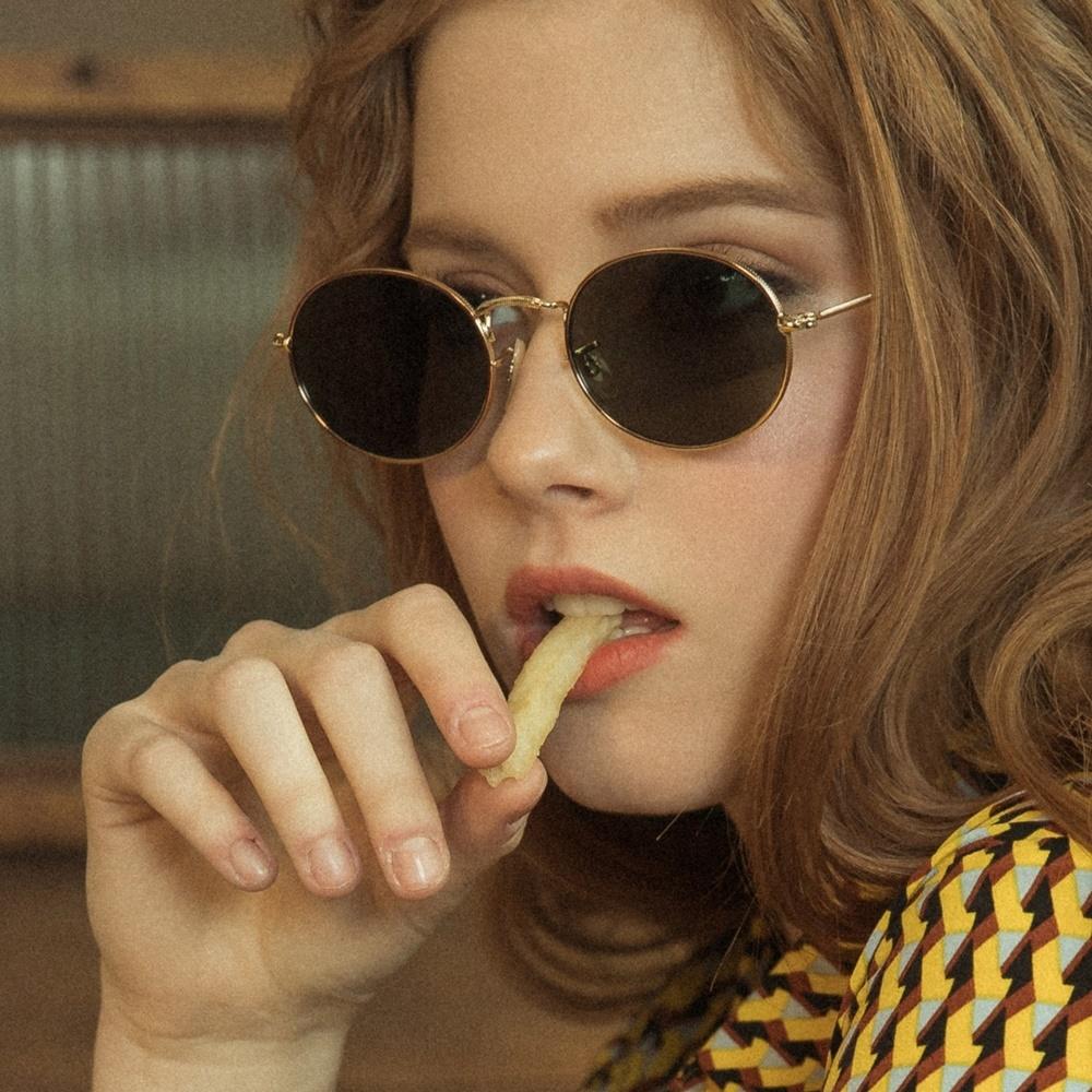 블루엘리펀트 - PENN gold-olivegreen 남자 여자 가벼운 레트로 빈티지 복고 금테 메탈 사이파이 눈알가리개 알 작은 커플 선글라스