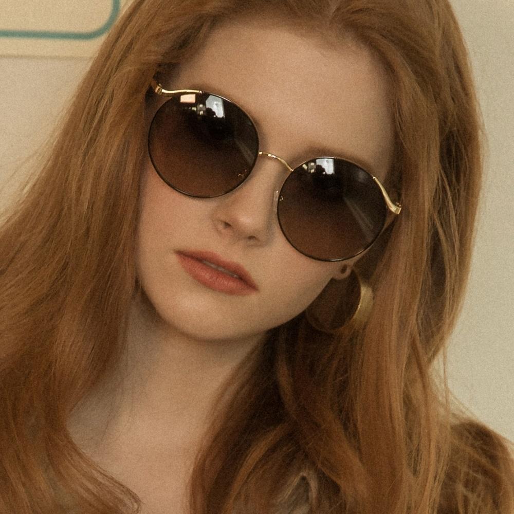 블루엘리펀트 - VOVA gold-black 여자 오버사이즈 동그란 원형 동글이 금테 선글라스