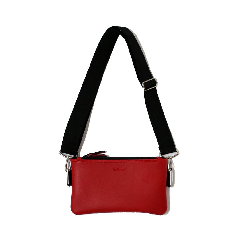 [할로바트] HALOVAT - DOUBLE ZIPPER MINI CROSS BAG/ RED 미니 크로스백