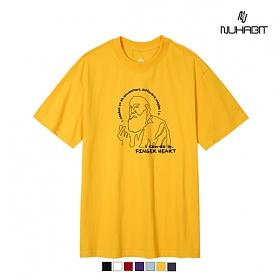 뉴해빗- FINGER HEART - (SBS9S-7079) - 나염반팔 반팔 티셔츠