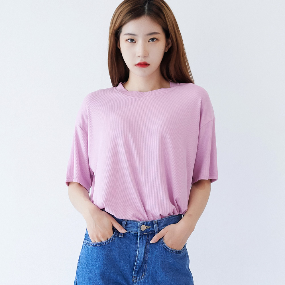 데일리 쿨링 스판 골지 라운드 티셔츠 핑크
