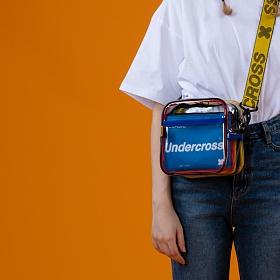 [언더크로스]UNDERCROSS 네모 미니 크로스백 PVC 클리어 투명가방