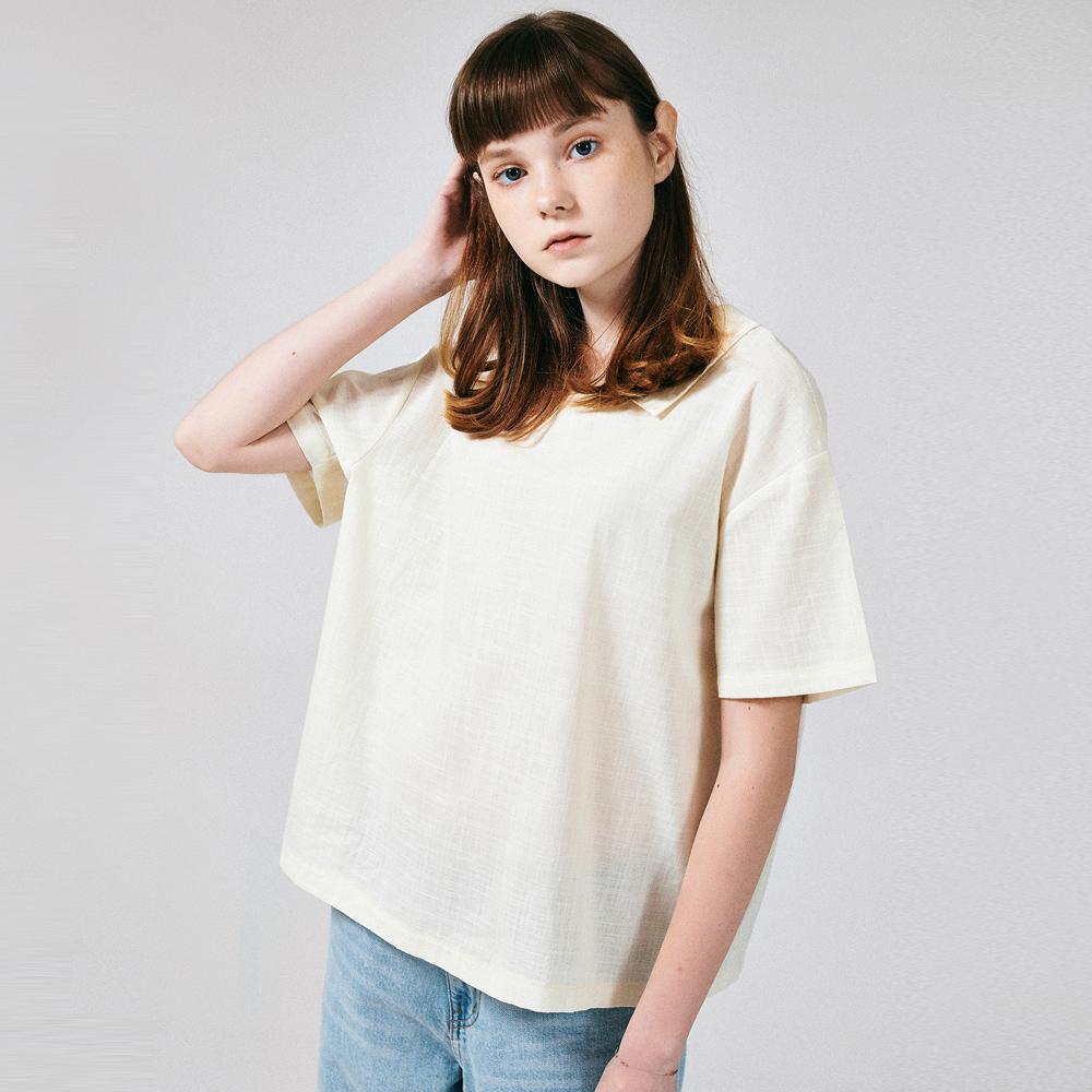 [프로젝트624]프론리어 카라 티셔츠 아이보리