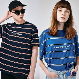 [프로젝트624](1+1) 인터내셔날 스트라이프 로고 티셔츠 2COLOR