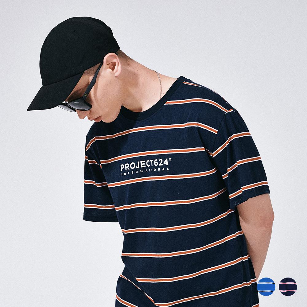 [프로젝트624](UNISEX) 인터내셔날 스트라이프 로고 티셔츠 2COLOR