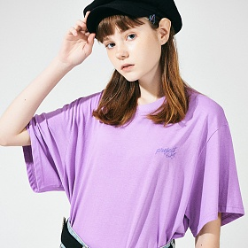 [프로젝트624](UNISEX) 스탠다드 자수 로고 티셔츠 연보라