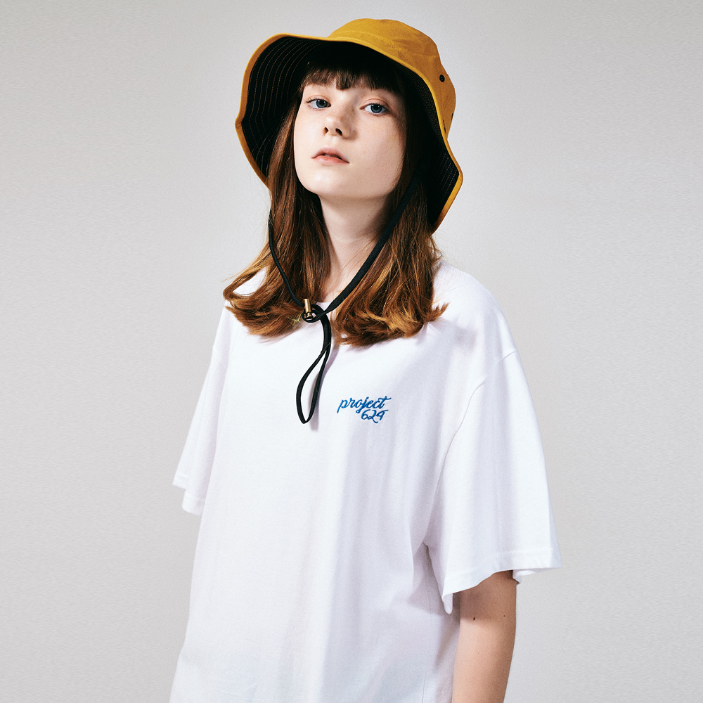 [프로젝트624](UNISEX) 스탠다드 자수 로고 티셔츠 화이트