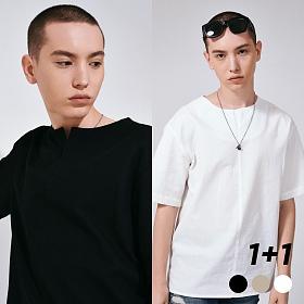 [프로젝트624](1+1) 프론트 오픈 코튼 티셔츠 3COLOR