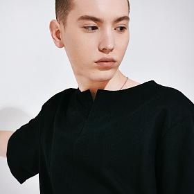 [프로젝트624](MEN) 프론트 오픈 코튼 티셔츠 블랙