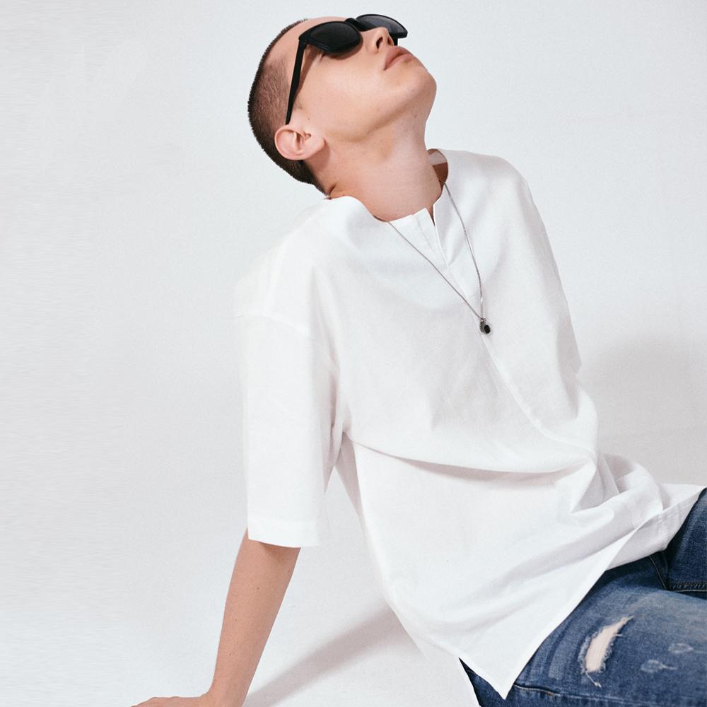 [프로젝트624](MEN) 프론트 오픈 코튼 티셔츠 아이보리