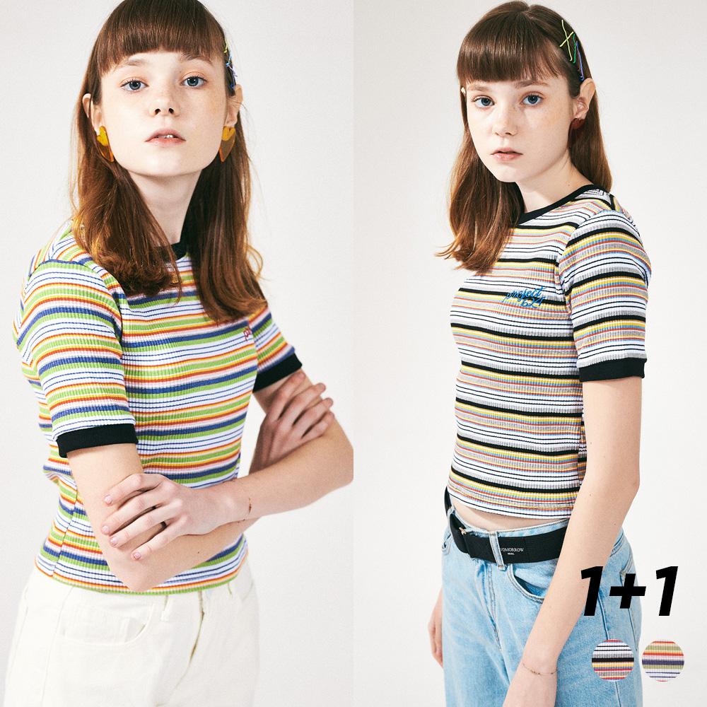 [프로젝트624](1+1) 레인보우 슬림 스판 티셔츠 2COLOR