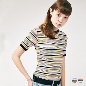 [프로젝트624]레인보우 슬림 스판 티셔츠 2COLOR