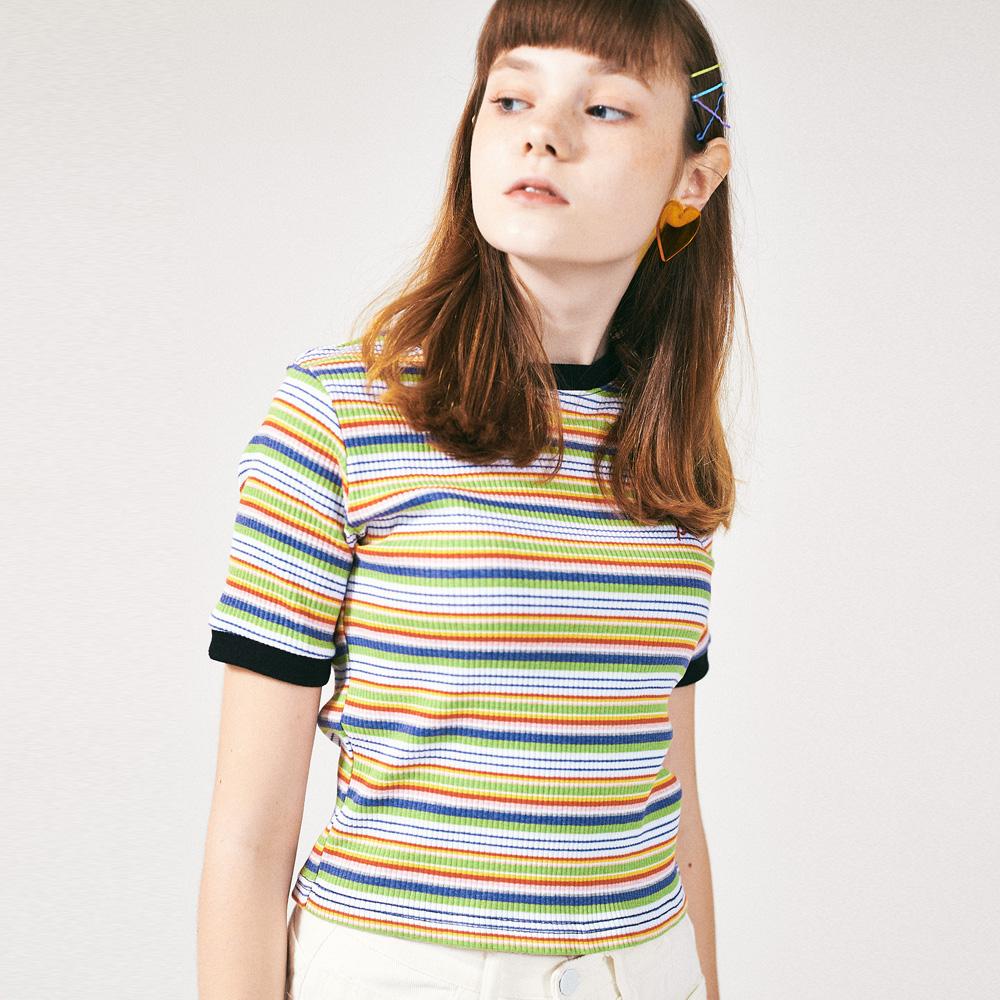 [프로젝트624]레인보우 슬림 스판 티셔츠 그린퍼플