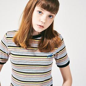 [프로젝트624]레인보우 슬림 스판 티셔츠 블랙옐로우