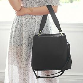 (끈2개포함) 에스티빠레트 프린세스 숄더 크로스 투웨이백 블랙 가죽 레더 여성가방