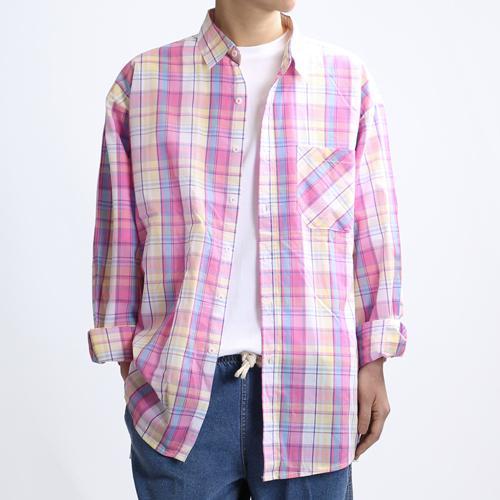 [쟈니웨스트] JHONNYWEST - Blossom Venti Shirts (Yellow Pink) 긴팔 체크셔츠