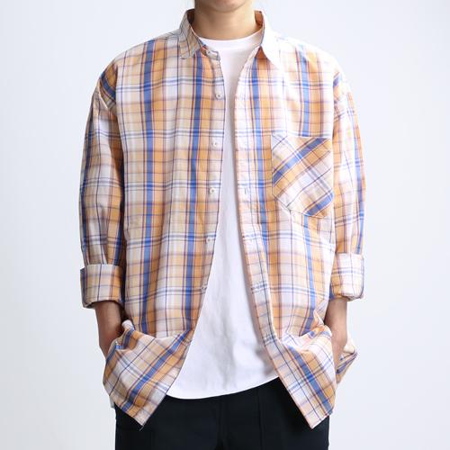 [쟈니웨스트] JHONNYWEST - Blossom Venti Shirts (Orange Blue) 긴팔 체크셔츠