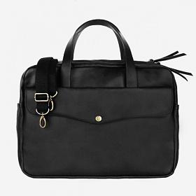 [단독판매][모노노]Vintage Brief Bag Coated Canvas (코팅 캔버스) - Black 남성 토트백 서류가방
