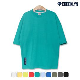 크루클린 시그니쳐 라벨 포인트 무지 오버핏 반팔티셔츠 TRS200