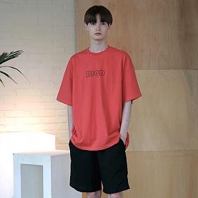 [엠오오] MOO - Initials Logo Oversize T-shirts Coral 오버사이즈 티셔츠 반팔티