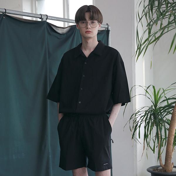 [엠오오] MOO - Minimal Regular Fit Washed Linen Shirts Black 레귤러핏 워시드 린넨 셔츠
