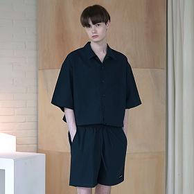 [엠오오] MOO - Minimal Regular Fit Washed Linen Shirts Navy 레귤러핏 워시드 린넨 셔츠
