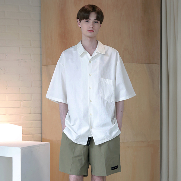 [엠오오] MOO - Minimal Regular Fit Washed Linen Shirts White 레귤러핏 워시드 린넨 셔츠