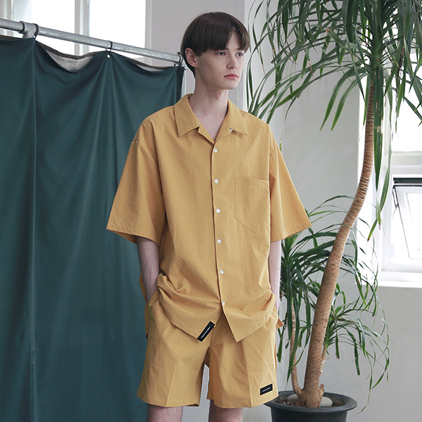 [엠오오] MOO - Minimal Regular Fit Washed Linen Shirts Mustard 레귤러핏 워시드 린넨 셔츠