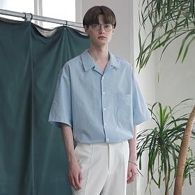 [엠오오] MOO - Minimal Regular Fit Washed Linen Shirts Sky 레귤러핏 워시드 린넨 셔츠