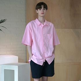 [엠오오] MOO - Minimal Regular Fit Washed Linen Shirts Pink 레귤러핏 워시드 린넨 셔츠