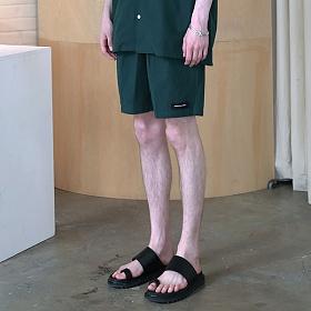 [엠오오] MOO - Minimal Washed Linen Short Pants Deep green 미니멀 워시드 린넨 쇼트 팬츠 반바지