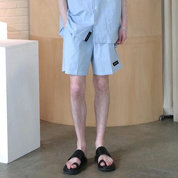 [엠오오] MOO - Minimal Washed Linen Short Pants Sky 미니멀 워시드 린넨 쇼트 팬츠 반바지